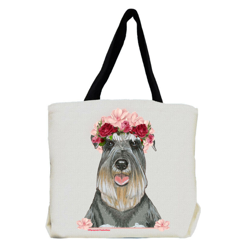 Schnauzer Dog with Flowers Tote Bag