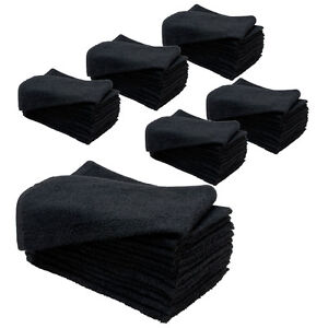 6-Dozen-15-x-25-BLACK-Cotton-Bleach-Chemical-Resistant-Salon-Spa-Towels-Proof