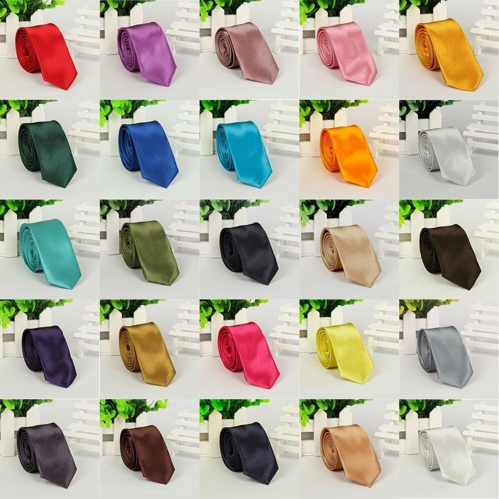 US Seller Mens Slim Plain Necktie Solid Color Casual Shirt Tie 40 Colors LD01