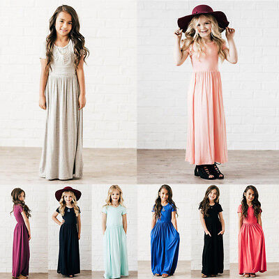 Short Sleeve Casual Long Maxi Dress Solid Beach Holiday Dresses for Kid Girls - Casual Dress For Girls