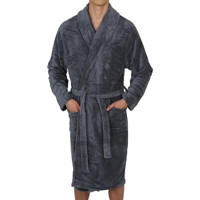 Mens-ROBE -Bathrobe- Coral Fleece-HOOD - SUPER SOFT - Thick - Weight USA SELLER - Mens Hooded Bathrobe