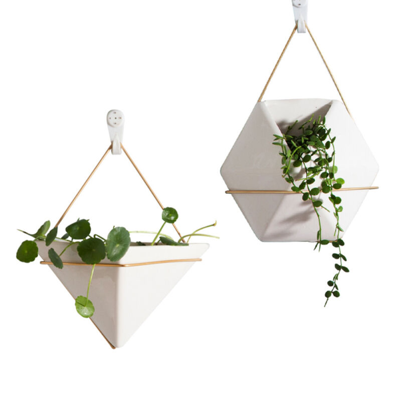 Modern Ceramic Planter Hang Plants Pot Wall Mounted