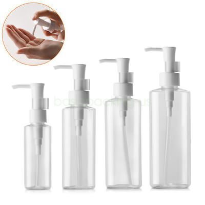 50ml 100ml 200ml Flat Clear Empty PET Lotion Pump Bottle for Cleansing oil Creme