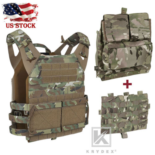 KRYDEX JPC 2.0 Jump Plate Carrier Tactical Vest & MOLLE Panel & Zip-on Back Pack