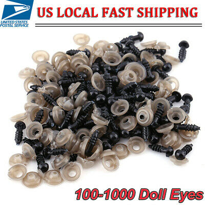 Eye Puppets - 6~12mm Black Safety Eyes Plastic with Washers for Doll Puppet Plush