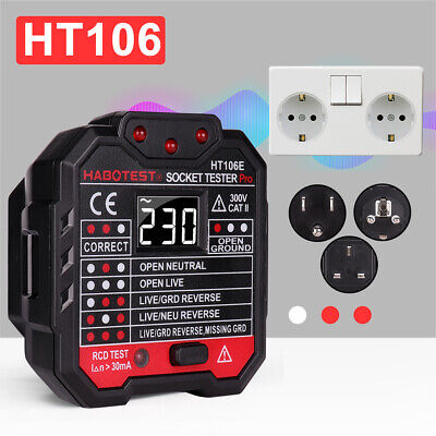 Electric Mains Fault Checker Socket Tester Digital Display Plug In AC 110V-230V Business & Industrial