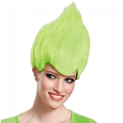 Green Wacky Wig Adult Troll Gnome Clown Doll Costume Team Dr. Seuss 90's - Green Troll Wig