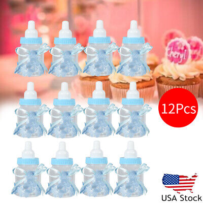 12X Baby Shower Fillable Candy Bottles Box Boy Girl Christening Party Favor Gift