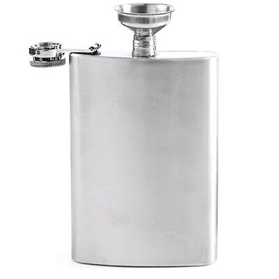 8oz Portable Stainless Steel Liquor Hip Flask with Funnel Silver Tone New
