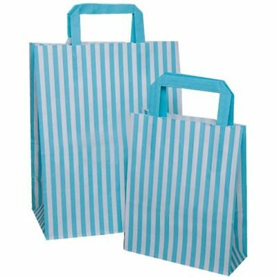 Baby Blue Candy (AQUA BABY BLUE Candy Stripe Flat Handle Bags Birthday Gift Bag Choose  Quantity*)