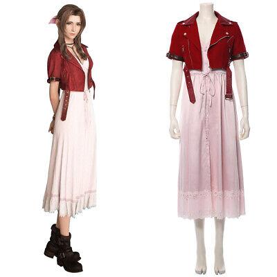 Final Fantasy VII Remakes Aerith Gainsborough Cosplay Costume Halloween Dress