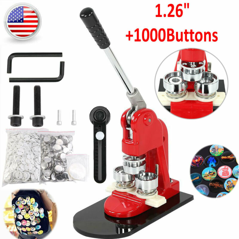 """Button Maker Badge Punch Press Machine 1.26"""" 1000 Parts + Circle Cutter US Stock"""