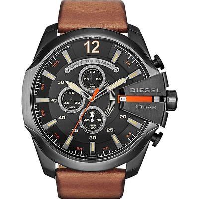New Diesel Men's DZ4343 Mega Chief Gunmetal Brown Leather Watch