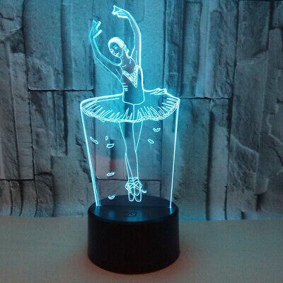 Ballet Girl 3D Acrylic LED Night Light Touch Table Desk Lamp Xmas Gift For Girl