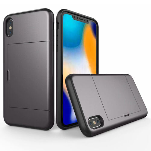 For iPhone Xs Max XR 7 8 X Card Slot Holder Wallet Case Tough Bumper Cover Skin