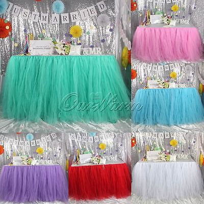 TUTU Tulle Table Skirts Tableware for Wedding Party Birthday Baby Shower Decor (Tableware For Wedding)