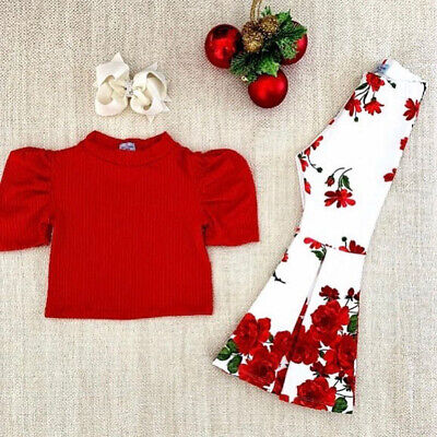 Casual Clothes For Girls (US Toddler Baby Girls Knitted Top T-shirt+Flare Pants Kids Casual Clothes)