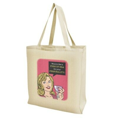 Wine Like Push Up Bra Your Personality Grocery Travel Reusable Tote Bag