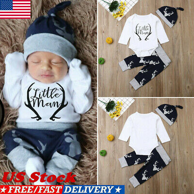 Children Christmas Clothing (Newborn Baby Boy Clothes Little Man Romper Tops+Deer Pants+Hat Xmas Outfits)
