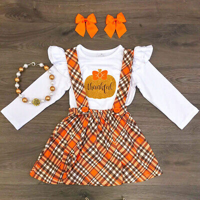 Top Baby Girl Halloween Costumes (US Toddler Kid Baby Girl Costume Halloween Pumpkin Tops Plaid Strap Skirt)