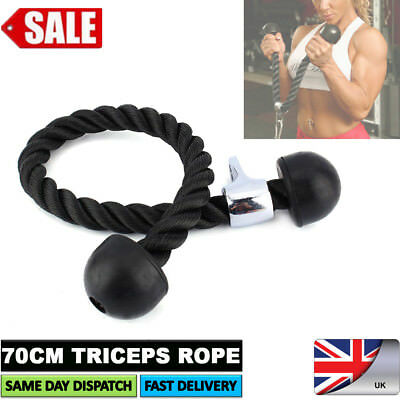 70cm Tricep Rope Multi Gym Lat Push Pull Down Cord Bodybuilding Attachment Cable
