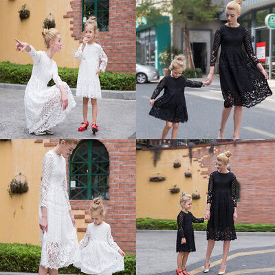 Mommy Kid Girl Matching Family Costume For Mother Daughter Match Lace Dress Gown](Girls Matching Costumes)