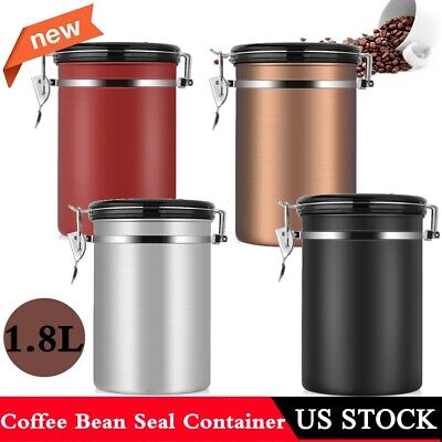 1.8L Coffee Container Airtight Stainless Steel Kitche Storage Canister CO2 (Stainless Steel Storage Canister)