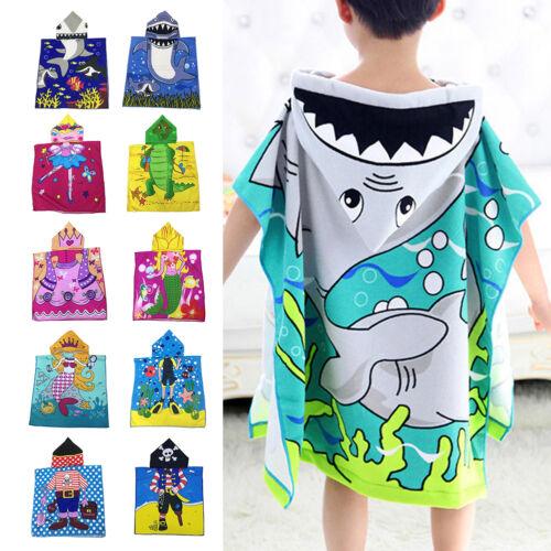 Kids Children Boy Girl Hooded Poncho Swim Beach Bath Towel B