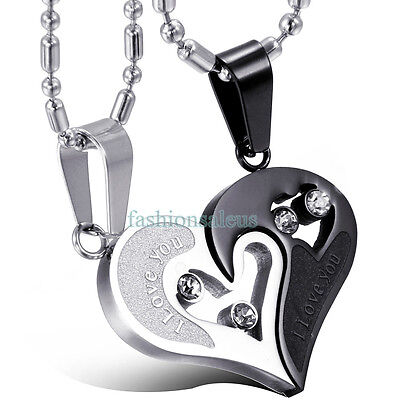 I Love You Matching Hearts Lovers Couples Pendant Stainless Steel Necklace Us