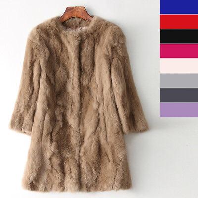 3/4 Sleeves Women Winter Jacket Real Rabbit Fur Coat Long Parka Chic Style Cool - Genuine Rabbit Fur 3/4 Coat