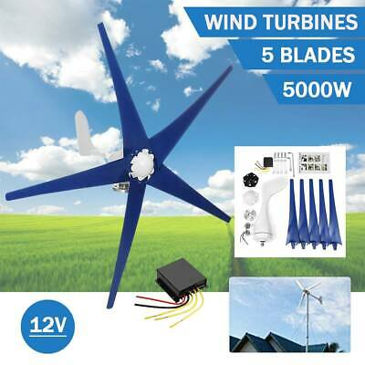 5 Blades 5000w Wind Turbine Generator Unit Dc 12v W. Power Charge Controller New