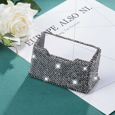 Shiny Rhinestone Business Card Holder Stand Name Card Organizer Case Black