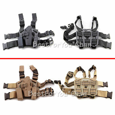 Tactical Serpa Drop Leg Pistol Holster With Magazine Pouch For Glock 17 19 22 (Best Pistol Mag Pouch)