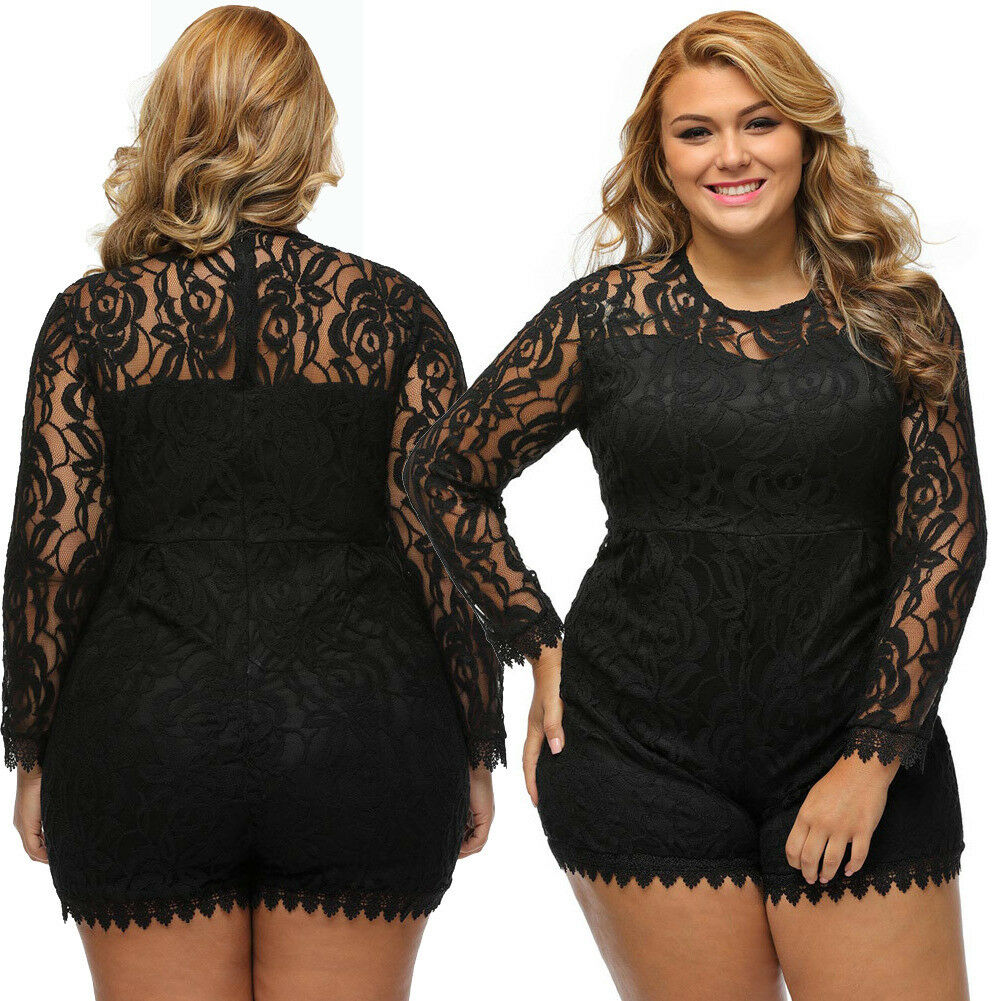 a0189ea60e13 Details about Sexy Women Plus Size Lace Romper Jumpsuit Bodycon Playsuit  Long Sleeve Dress