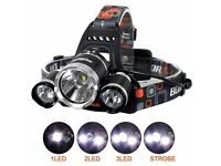 6000 LM Lumens 3 x XML CREE T6 LED Rechargeable Head Torch Headlamp Lamp Light