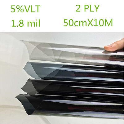 Car Black Car Home Glass Window Tint Film and shade Roll 2PLY 50cm*10m 5% VLTA