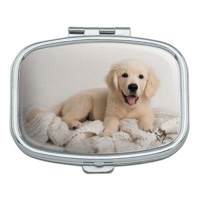 Golden Retriever Puppy Dog and Blanket Rectangle Pill Case Trinket Gift Box