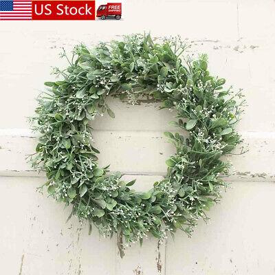 Pure Garden 15 Inch Open Plastic Wreath Indoor Outdoor Artificial Beautiful ()