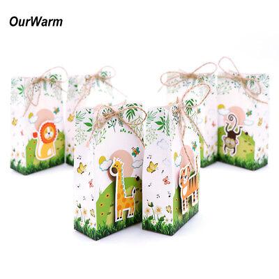 6×Baby Shower Jungle Safari Zoo Theme Candy Box Safari Animal Treat Gift Bags (Gift Bags Baby Shower)