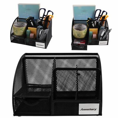 Mesh Office Supplies Desk Organizer Caddy 5 Compartments Durable Black Metal