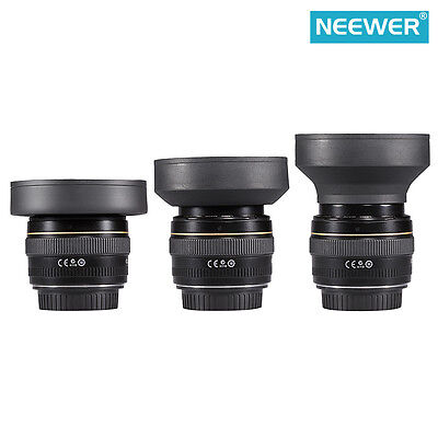 Neewer 58MM 3-in-1 Rubber Lens Hood for Camera Lens with 58MM Filter Thread