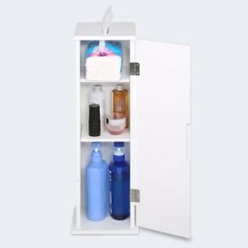Waterproof Bathroom Floor Standing Cabinets Roll Storage Units Furniture for Toilet white