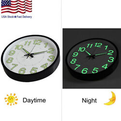 12 Inch Glow In The Dark Wall Clock Analog Retro Style Glowing Hands & Numbers
