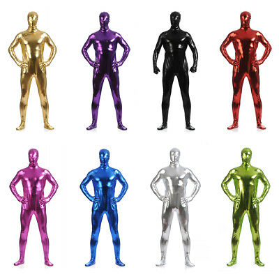 Men Full Body Tights Skin Suit Costume Metallic Shiny Zentai for Halloween Party - Full Body Costumes For Halloween