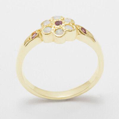 Pink Tourmaline Daisy - 10k Yellow Gold Natural Pink Tourmaline & Opal Womens Daisy Ring - Sizes 4 to 12