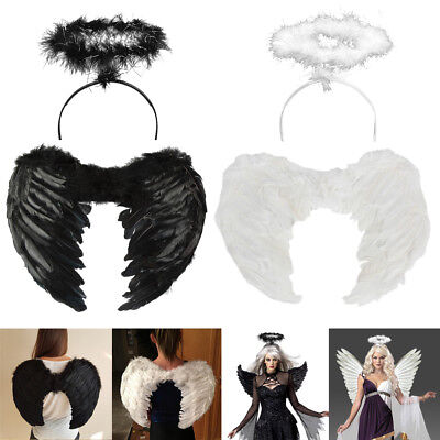 Halloween Christmas Kid Adult Angel Wings Fancy Dress Fairy Feather Outfit Party (Kid Wings)