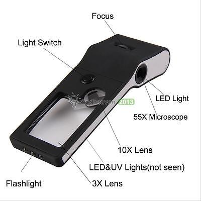 6 in 1 LED Pocket Magnifier 3X 10X magnifier 55X Microscope UV Light Lamp