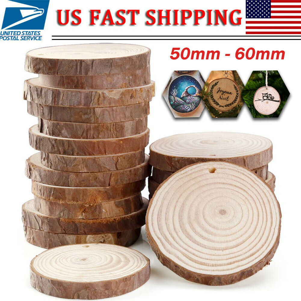 25 Wooden Wood Log Slices Natural Tree Bark Round Shape Tabl