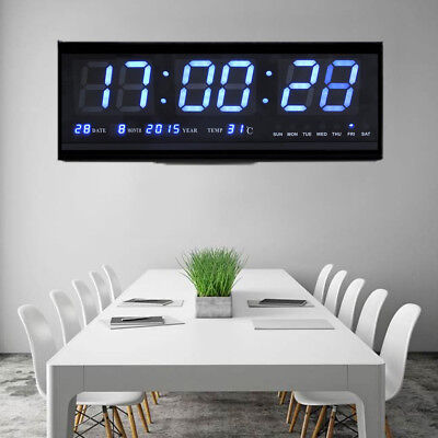 LED Wanduhr Digital Uhr mit Datum Temperatur Feuchtigkeit Haus Büro Deko Blau SG
