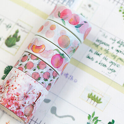 5Rolls Washi Tape Flower Leaves DIY Decorative Paper Adhesive Sticker Craft Well Crafts
